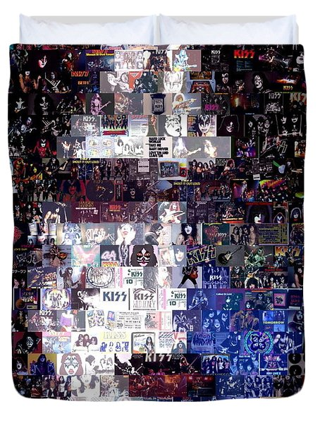 Kiss Ace Frehley Mosaic Duvet Cover by Paul Van Scott