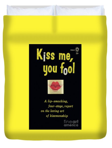 Duvet Cover featuring the painting Kiss Me, You Fool by Unknown Artist