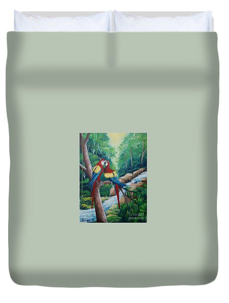 Kiss On The Forest Duvet Cover