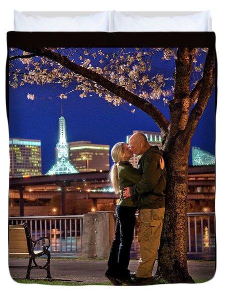 Kiss Under The Cherry Tree - Vertical Duvet Cover
