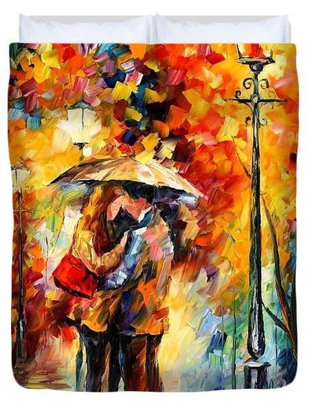 Kiss Under The Rain Duvet Cover by Leonid Afremov