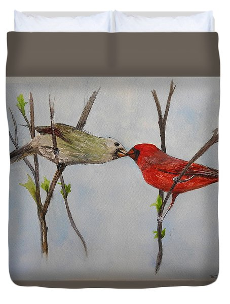 Kissing Cardinals Duvet Cover