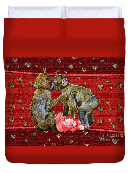 Kissing Chimpanzees Hearts Duvet Cover