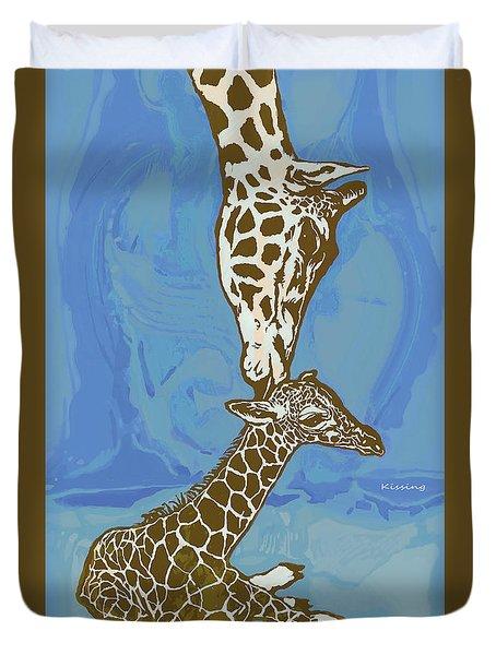 Kissing - Giraffe Stylised Pop Art Poster Duvet Cover