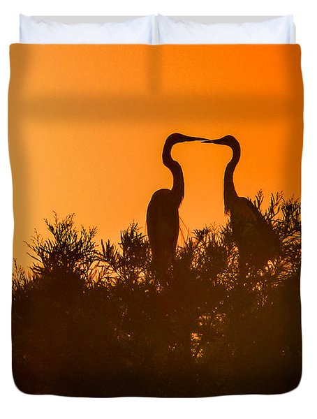 Kissing Herons  Duvet Cover