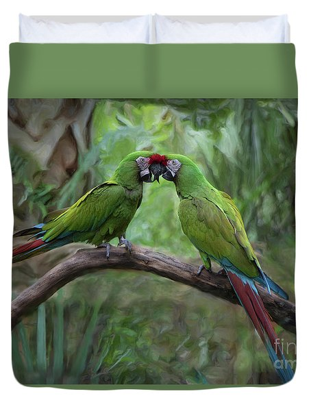 Kissing Macaws Duvet Cover