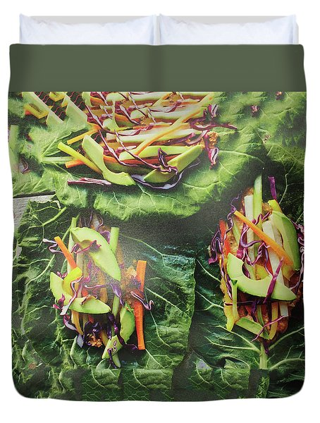 Duvet Cover featuring the painting Kitchen Art Chopped Veggie Salad Chef Cuisine Christmas Holidays Birthday Mom Dad Fastfood Food by Navin Joshi