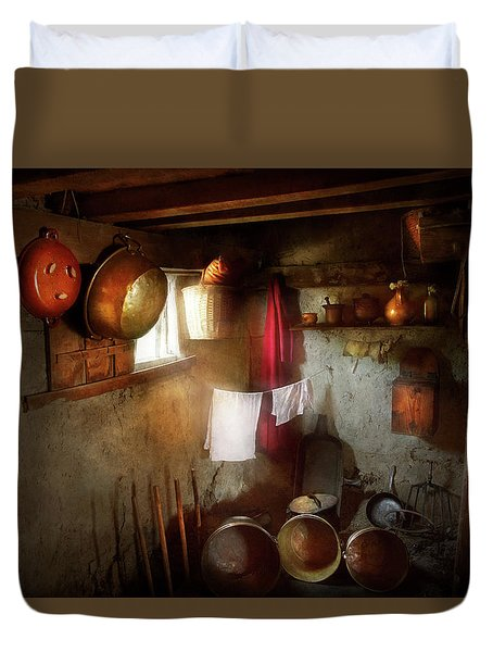 Duvet Cover featuring the photograph Kitchen - Homesteading Life by Mike Savad
