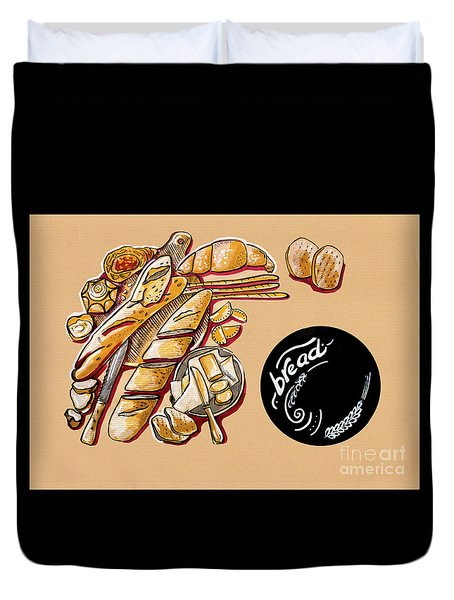 Duvet Cover featuring the drawing Kitchen Illustration Of Menu Of Bread Products  by Ariadna De Raadt
