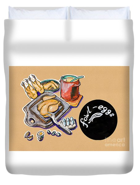 Kitchen Illustration Of Menu Of Fowl  Products  Duvet Cover