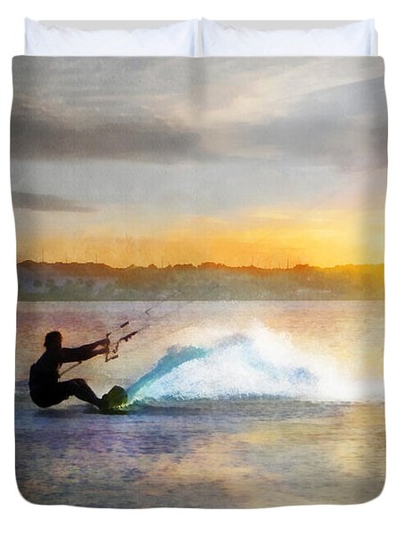 Kite Boarding At Sunset Duvet Cover