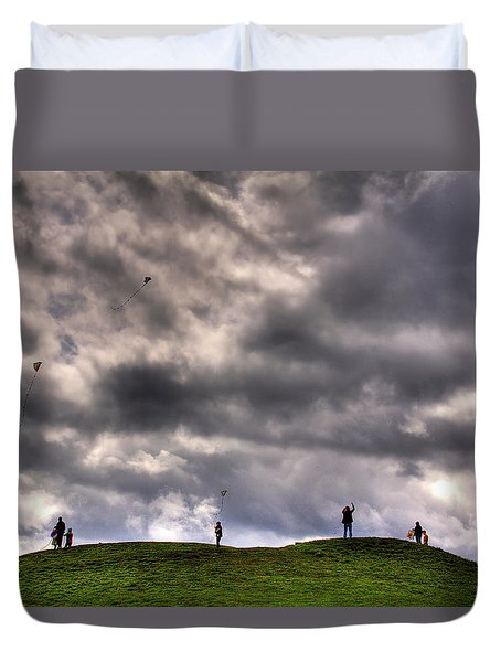 Kite Flying Duvet Cover by David Patterson