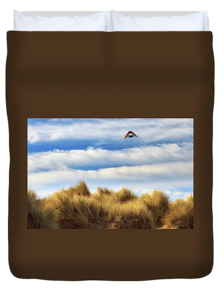 Duvet Cover featuring the photograph Kite Over The Hill by James Eddy