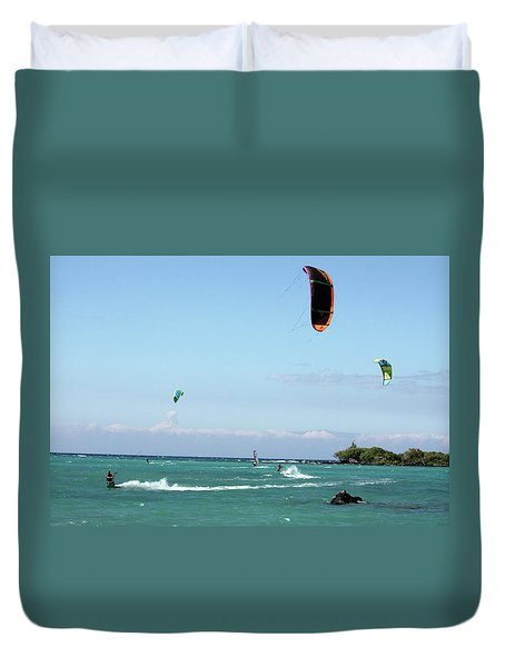 Kite Surfers And Maui Duvet Cover by Karen Nicholson