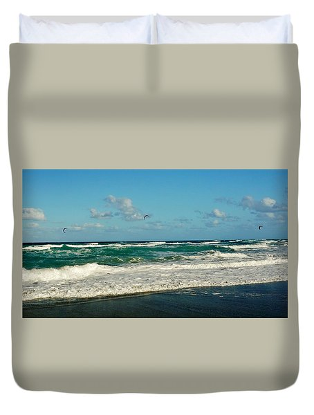 Kite Surfing Duvet Cover by John Wartman