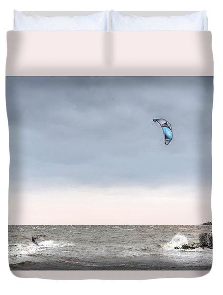 Kite Surfing On The Chesapeake Bay Duvet Cover