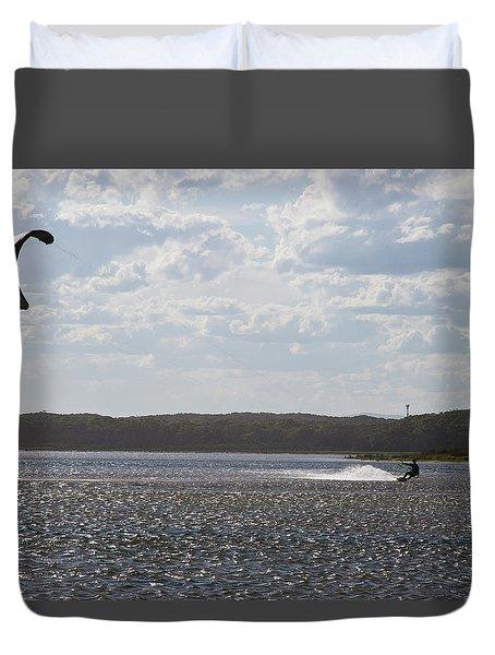 Duvet Cover featuring the photograph Kiteboarding by Miroslava Jurcik