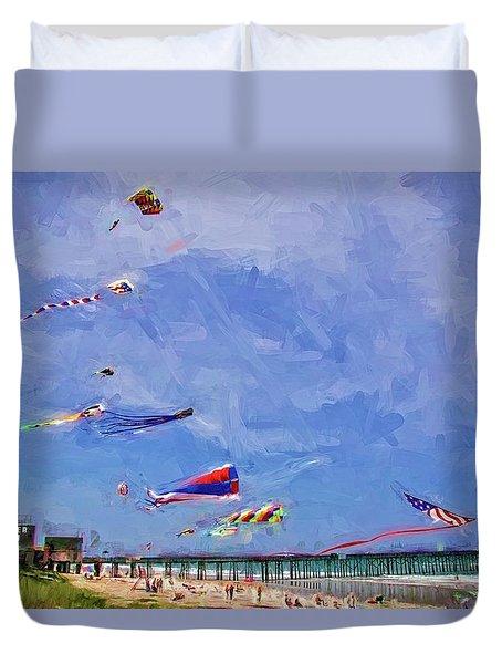 Kites At The Flagler Beach Pier Duvet Cover