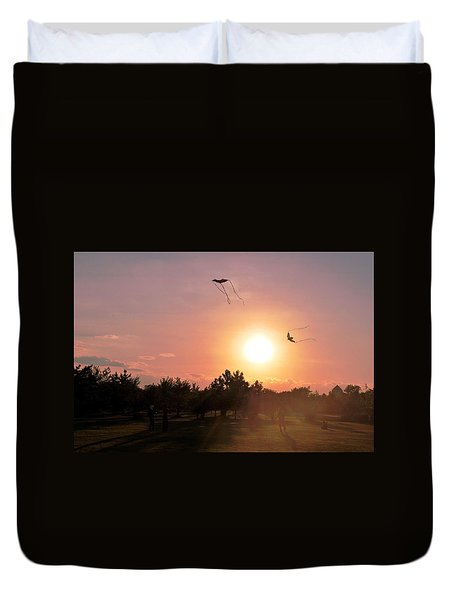Kites Flying In Park Duvet Cover