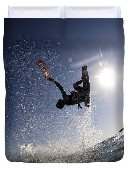 Kitesurfing In The Mediterranean Sea  Duvet Cover