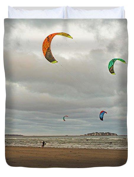 Kitesurfing On Revere Beach Duvet Cover