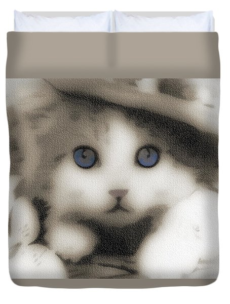 Duvet Cover featuring the photograph Kitten Art 01 by Kevin Chippindall
