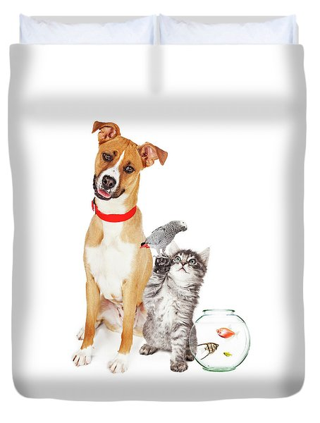 Kitten Dog Bird And Fish Together Duvet Cover