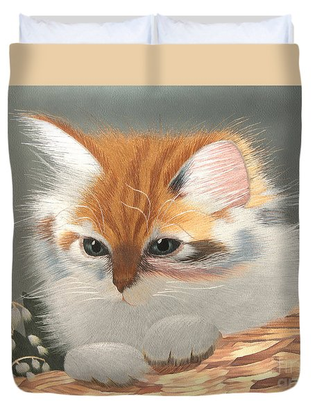 Kitten In A Basket Duvet Cover