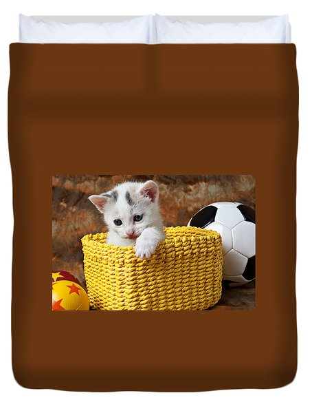 Kitten In Yellow Basket Duvet Cover by Garry Gay