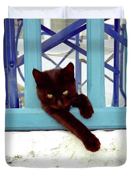 Kitten With Blue Rail Duvet Cover
