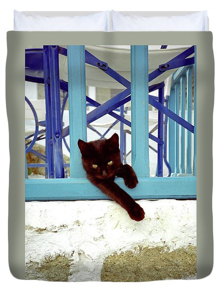 Kitten With Blue Rail Duvet Cover