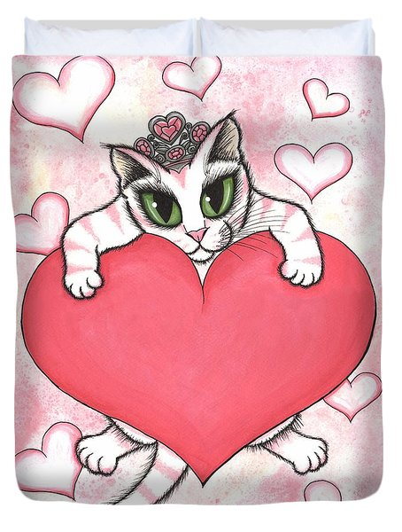 Duvet Cover featuring the painting Kitten With Heart by Carrie Hawks