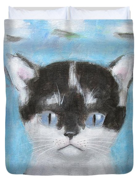 Kitten With Three Clouds Duvet Cover