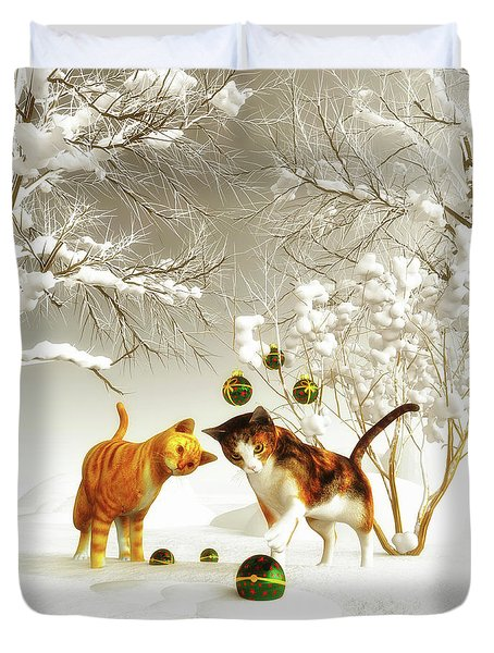 Kittens At Christmas Duvet Cover