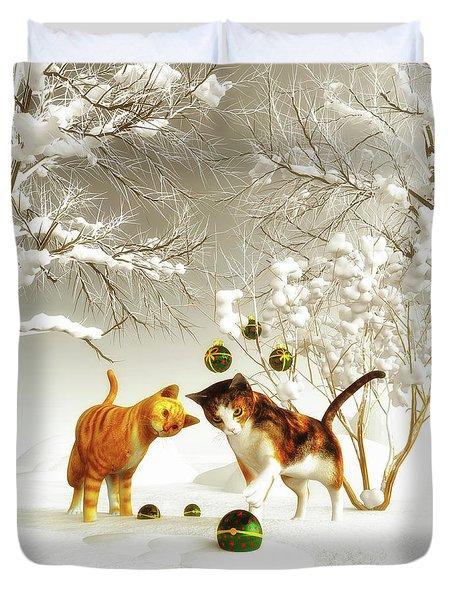 Kittens At Christmas Duvet Cover