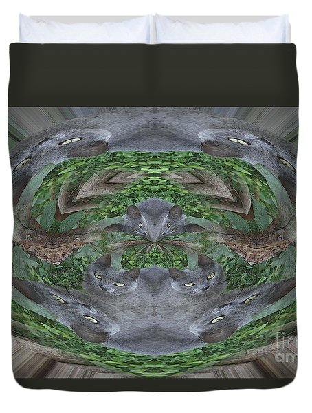 Kitty Abstract  Duvet Cover