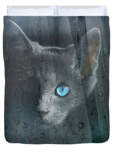 Kitty At The Window Duvet Cover