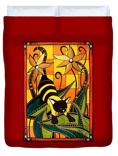 Kitty Bee - Cat Art By Dora Hathazi Mendes Duvet Cover