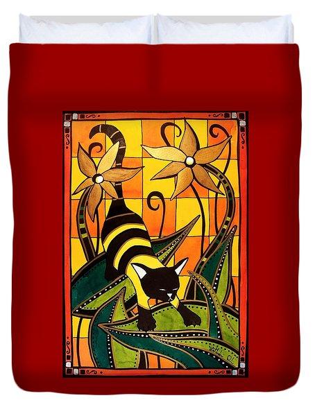 Kitty Bee - Cat Art By Dora Hathazi Mendes Duvet Cover by Dora Hathazi Mendes
