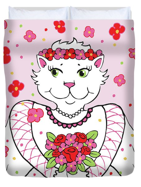 Kitty Bride Duvet Cover