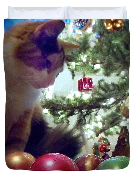 Kitty Helps Decorate The Tree Christmas Card Duvet Cover