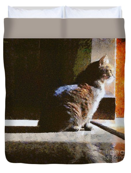 Kitty In The Light Duvet Cover by Elizabeth Coats