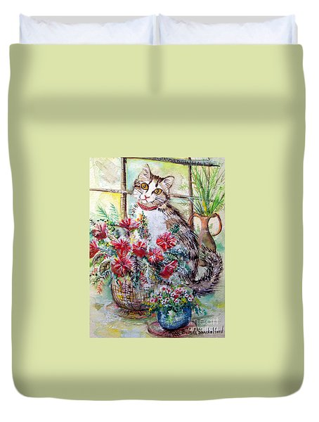 Kitty In The Window Duvet Cover by Linda Shackelford