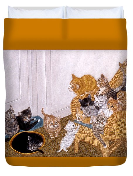 Duvet Cover featuring the painting Kitty Litter II by Karen Zuk Rosenblatt