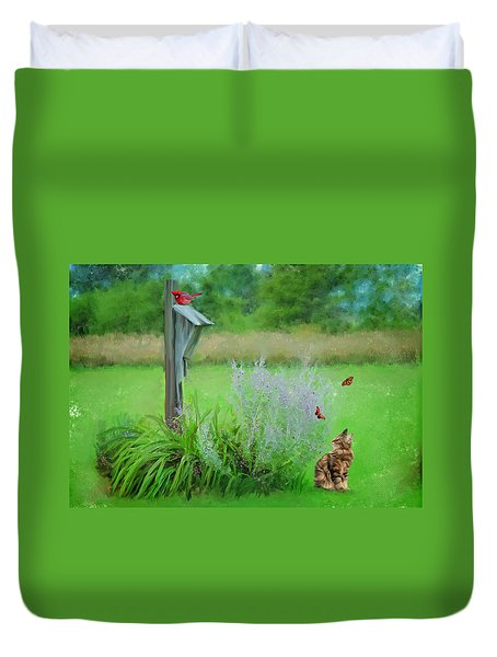 Duvet Cover featuring the photograph Kitty's Fantasy by Mary Timman