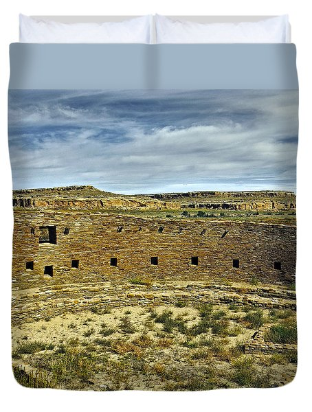 Duvet Cover featuring the photograph Kiva View Chaco Canyon by Kurt Van Wagner