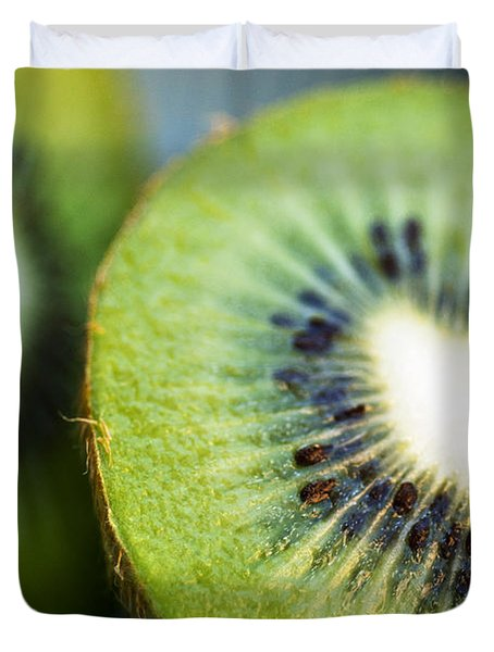 Kiwi Fruit Halves Duvet Cover by Ray Laskowitz - Printscapes
