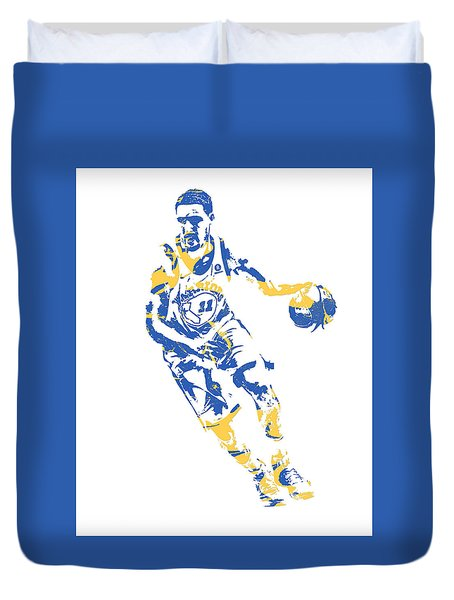 Klay Thompson Golden State Warriors Pixel Art 50 Duvet Cover