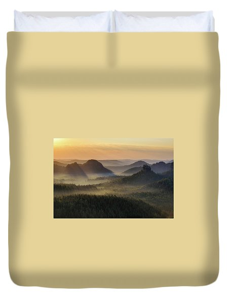 Kleiner Winterberg Silhouettes, Saxon Switzerland, Germany Duvet Cover