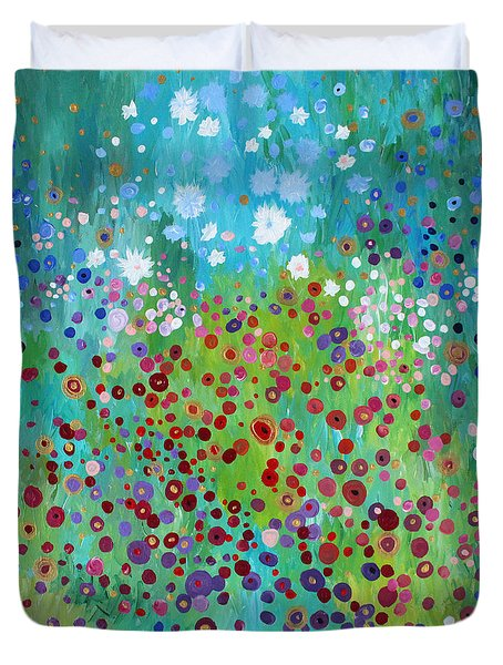 Duvet Cover featuring the painting Klimt's Garden by Stacey Zimmerman